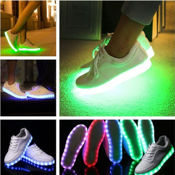 Unisex LED Light Lace Up Luminous Shoes Sportswear Sneaker Luminous Casual Shoes [8096623175]