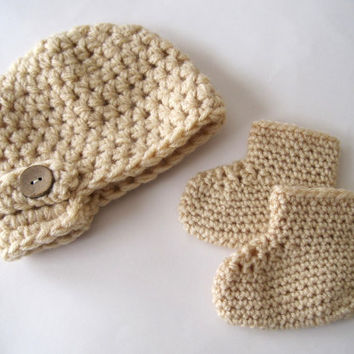 Newsboy Hat Crochet Baby Hat Crochet Baby Booties by Monarchdancer