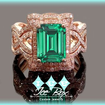 Cultured Emerald  Engagement Ring -  8 x 10mm  3.5ct Cultured Emerald set in a 14k Rose Gold Diamond Halo Setting with two matching bands