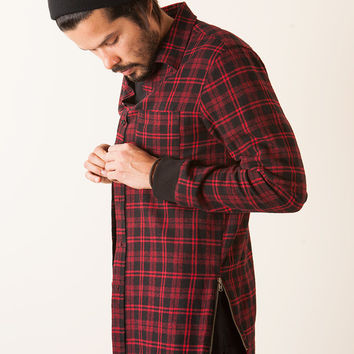 EXTRA LONG SIDE ZIP FLANNEL SHIRT