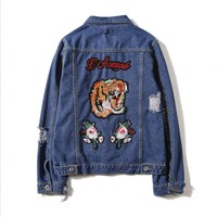 Gucci Fashion Tiger Bee Embroidery Denim Cardigan Jacket Coat