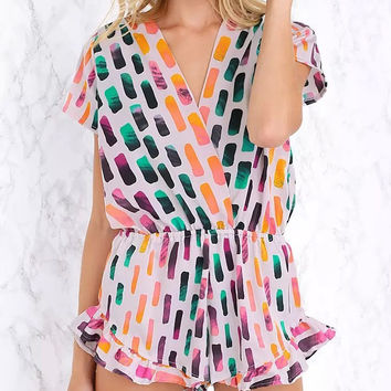 Sweet Colored Printed V-neck Short Sleeve Rompers