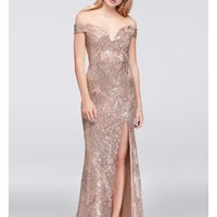 Off-The-Shoulder Lace Gown with Sequin Appliques   David's Bridal