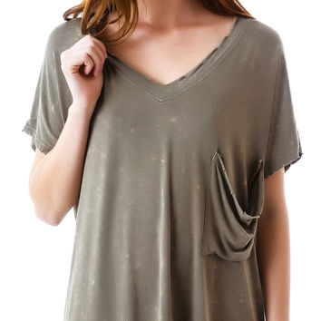 POL Clothing Commando Distressed V-Neck Tee Olive