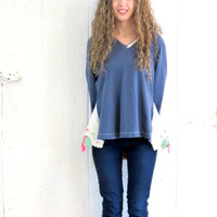 Upcycled Tunic , Lagenlook Shirt , Blue Top with lace , mori girl shabby chic tunic , womens size medium romantic