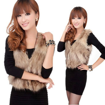 New Arrival Women's Winter Faux Fur Vest Coat Short Colete Pele Female Fur Vests = 1932609284