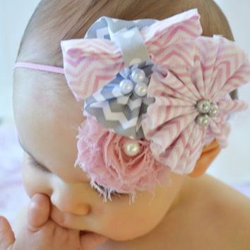 Baby Girl Headbands... Baby Headband...Pink & Gray Chevron Bow Flower Headband... Baby Bow Headband... Newborn Headband