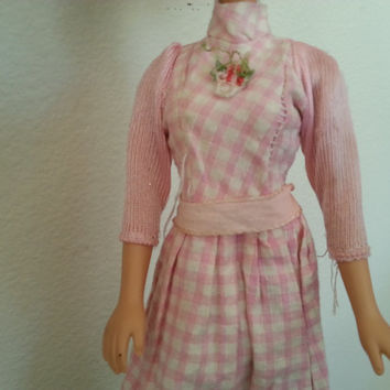 Vintage Barbie Clothes, Barbie Doll Prairie Dress, Pink Gingham with Flower Applique, 1970s Doll Outfit, Miniature Doll Clothes