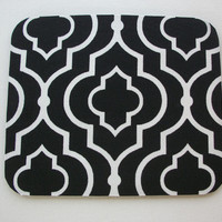 Mouse Pad mousepad / Mat - Rectangle or round - Large black white trellis - Desk Accessory