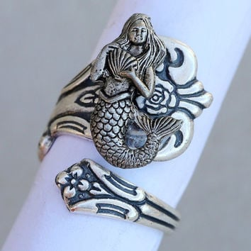 ON SALE Mermaid Antique Spoon Ring, Silver Spoon Ring,Antique Ring,Silver Ring,Wrapped,Adjustable,Bridesmaid.