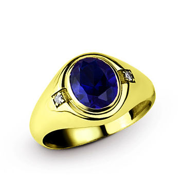 10 K Solid Yellow Gold Men's Ring with 4.94 ct Sapphire and 0.04 ct Diamonds