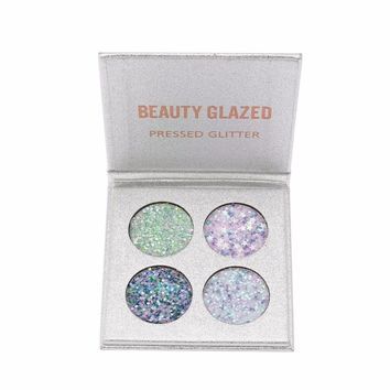 BEAUTY GLAZED Portable Professional Glitter Eyeshadow Pallete 4 Ultra Pigmented Shining Shimmer Eye Shadow Palette Cosmetics