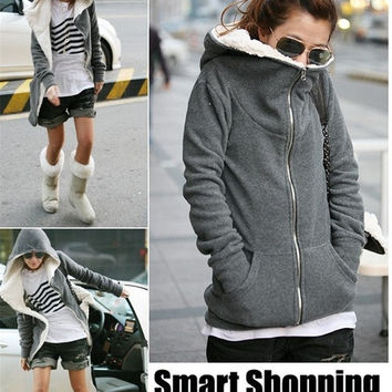 Women Leisure Hoodie Coat Jumper Female Fleece Cotton Zipper Tops Jacket black grey one size = 1932324676