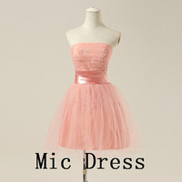 Strapless sleeveless ball gowns sashes appliques short prom/Evening/Party/Homecoming/cocktail /Bridesmaid/Formal Dress