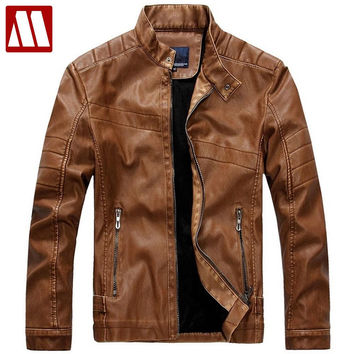 Men's Faux Leather Jackets Men Motorcycle Leather Jacket Slim Fit Leather Clothing Leather Handsome Coat Bomber man Jacket
