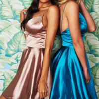 Short Champagne Homecoming Dress, Blue Homecoming Dress with Pockets from modsele
