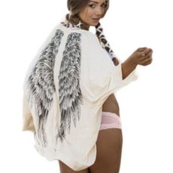 Fashion Women White Free Size Tops Blouse Coat Sandy Beach Sun Shirt Printed Wings Knit Cardigan Shawl Long Sleeve (Color: White) [7939181895]