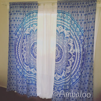 Blue Mandala Curtains, mandala tapestry, Indian Tapestry, tapestry, mandala, drapes, window treatment, blinds, Curtains