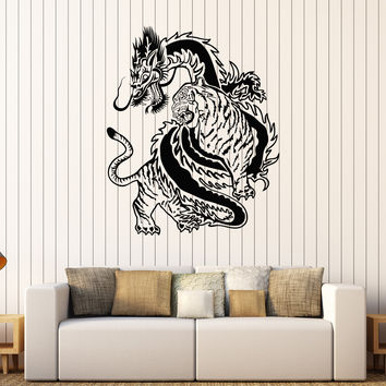 Vinyl Wall Decal Chinese Dragon Tiger Fight China Asian Art Stickers Unique Gift (307ig)