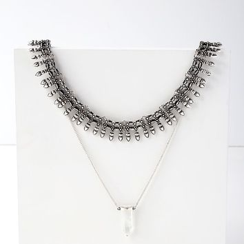Sunizona Silver Layered Collar Necklace