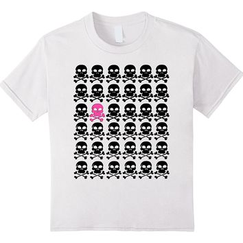 Black Skulls with One Fuchsia Tee by Scarebaby