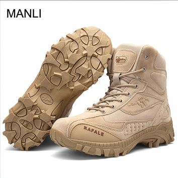 MANLI Hiking Climbing Shoes Men Military Boots Quality Special Force Tactical Desert Combat Ankle Boats Leather Army Shoes