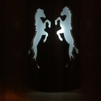 Stallion Horses in Battle Outdoor Patio Light