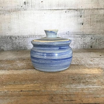Canister Vintage Ceramic Jar Handmade Lidded Clay Jar Cottage Chic Lidded Container Vintage Lidded Vessel Small Ceramic Canister