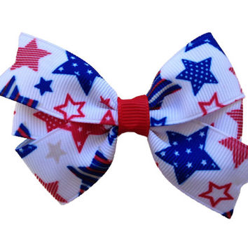 Red white & blue stars hair bow - Fourth of July bow, patriotic bow, red white blue bow