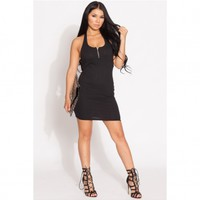 Black Ribbed Halter Body Con Dress @ Cicihot sexy dresses,sexy dress,prom dress,summer dress,spring dress,prom gowns,teens dresses,sexy party wear,ball dresses
