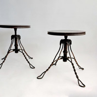 Copper Plated Piano Stools. Pair. Art Nouveau. Swivel Stools. Accent Tables. Industrial. Tonk Chicago