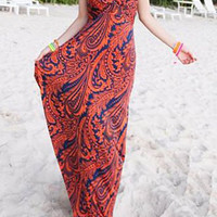 Red Bohemian Style V-Neck Backless Maxi Dress