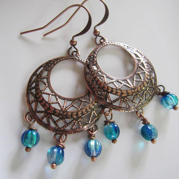 Copper Bohemian Hoop Earrings with Ocean Blue Pumpkin Beads - mother, sister, girlfriend birthday gift