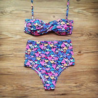 Summer Swimsuit New Arrival Beach Hot With Steel Wire Sexy Floral Swimwear High Waist Bikini [9753176271]
