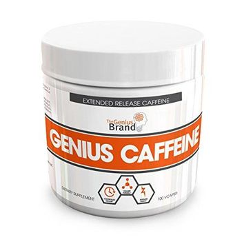 GENIUS CAFFEINE – Extended Release Microencapsulated Caffeine Pills, All Natural Non-Crash Sustained Energy &...