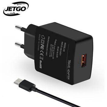JETGO Universal USB Charger Support Quick Charge 3.0 5-12V 18W Travel Wall Mobile Phone Charger Adapter With Micro USB Cable