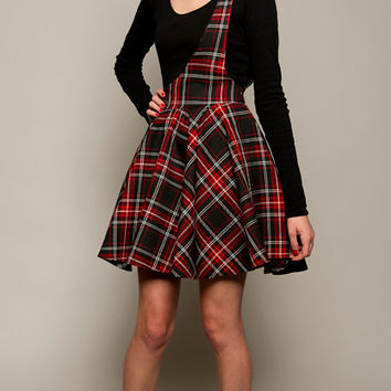 Red Plaid Suspender Skirt, One Shoulder Jumper,Tartan Full Circle Skirt, Rockabilly Skirt in Sizes: UK 8-16/US Size 4-12