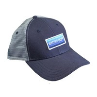 WAVE TRUCKER HAT IN NAVY AND GREY BY WATERS BLUFF
