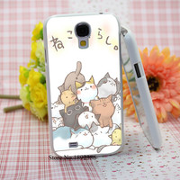 Kawaii Cats fashion original  White Hard Case Cover for Samsung Galaxy S3 S4 S5 S6 Edge Mini Series