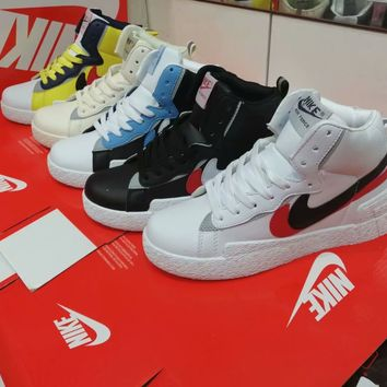 """Nike Blazer"" Men Casual Fashion Multicolor High Help Plate Shoes Sneakers"