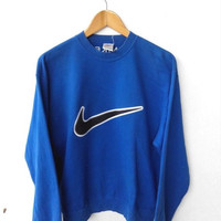 HOT SALE 90's Vintage NIKE Big Logo Swoosh Blue Jumper Sweater Hip Hop Streetwear Pullover Sweatshirt