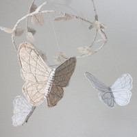 Butterfly Mobile - Handmade Nursery Decoration in snow white, cream and gray fabric