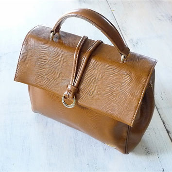 Vintage Camel Brown Liz Claiborne Leather Purse / Handbag