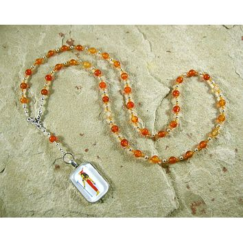 Serqet (Serket) Prayer Bead Necklace in Carnelian: Egyptian Goddess of Healing, Magic, Scorpions and Venomous Beasts
