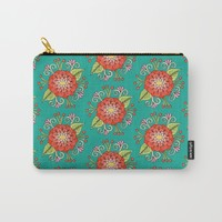 Zinnia Pattern Carry-All Pouch by Sarah Oelerich