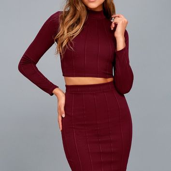 My Way Plum Purple Two-Piece Long Sleeve Dress