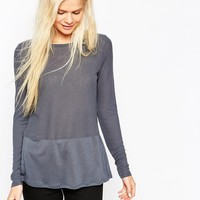 ASOS Tunic Top With Contrast Panel And Long Sleeves