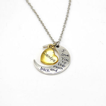 Hand stamped I Love You to the Moon and Back Charm Necklace Silver Gold Grandpa +Gift Box