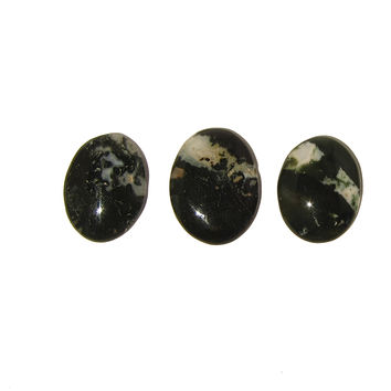 Moss Agate Slab 03 Set of Three Green White Oval Cabochon Stones
