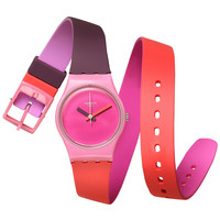 Swatch Women's Swiss Fun in Pink Multicolor Silicone Wrap Strap Watch 25mm LP137